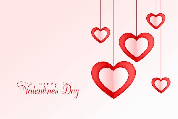 Uroczego Wiszącego Serca Szczęśliwego Walentynka Dnia Tło Darmowych Wektorów