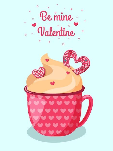 Uroczy Czerwony Kubek Gorącej Czekolady Z Kremem I Różowymi Ciasteczkami W Kształcie Serca. Romantyczne Walentynki. Premium Wektorów