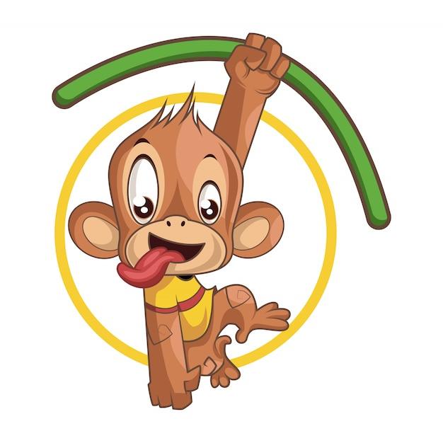 Uroczy figlarny małpa wisi na gałęzi Premium Wektorów