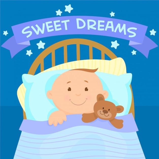 Uroczy mały chłopiec leży w łóżku z misiem Premium Wektorów