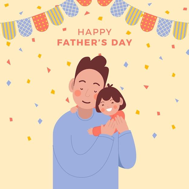 Uroczy Tata I Dzień Ojca Dziecka Darmowych Wektorów