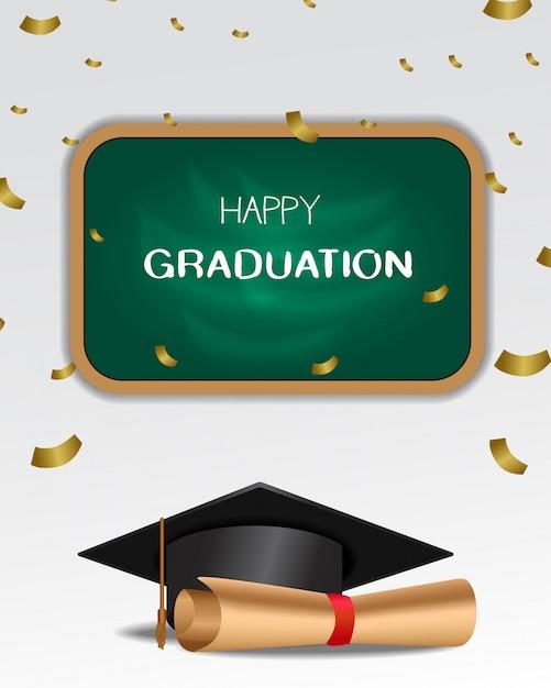Uroczysta Uroczystość Z Okazji Ukończenia Szkoły Premium Wektorów