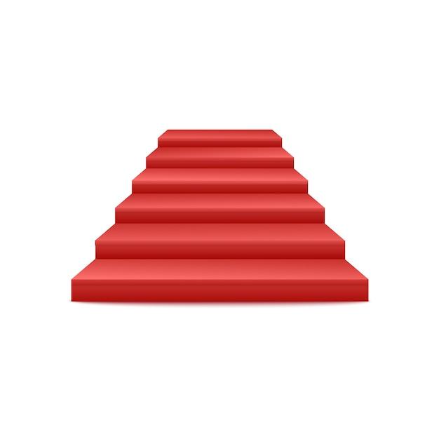 Uroczyste Wydarzenia Czerwony Dywan Schody Podium Lub Cokół Z Przodu 3d Realistyczny Widok Na Białym Tle. Ikona Ceremonii Wręczenia Nagród Etap Schody. Premium Wektorów