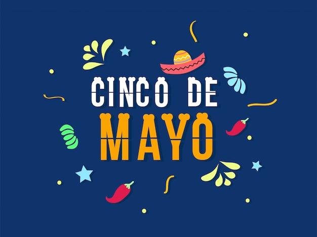 Uroczystość cinco de mayo w płaskiej konstrukcji Premium Wektorów
