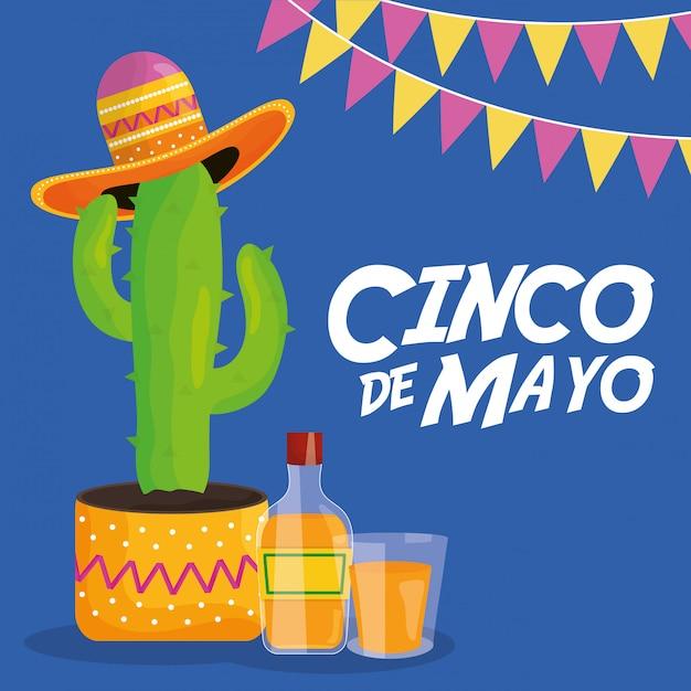 Uroczystość cinco de mayo z meksykańskim kaktusem i kapeluszem Premium Wektorów