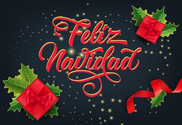 Uroczysty projekt karty feliz navidad. prezenty świąteczne Darmowych Wektorów