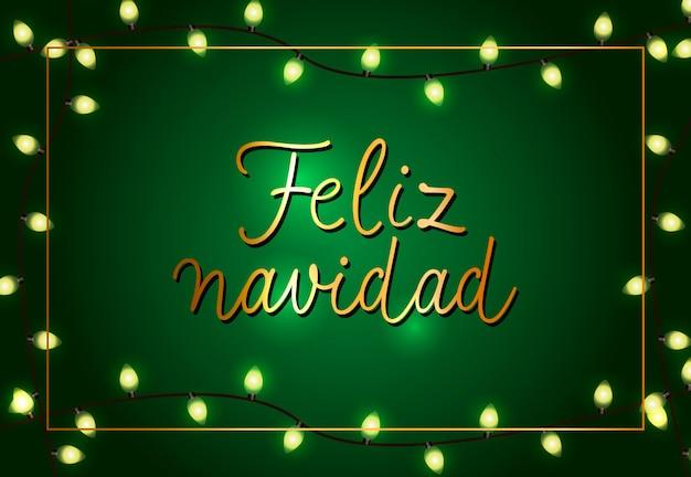 Uroczysty projekt plakatu feliz navidad. świąteczne girlandy Darmowych Wektorów