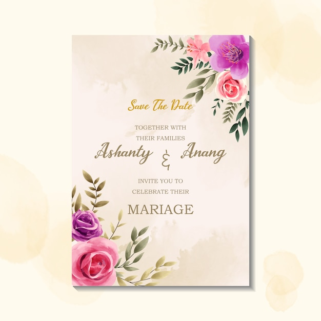 Uroda szablon zaproszenia ślubne z akwarela styl vintage Premium Wektorów