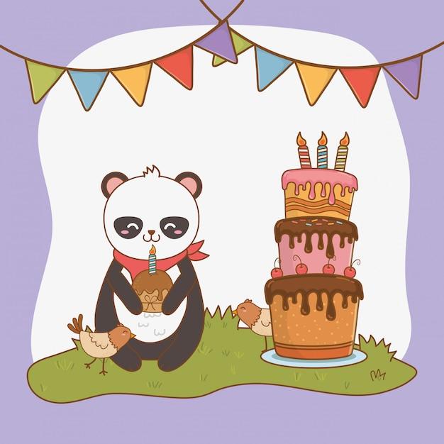 Urodzinowa Karta Z ślicznym Niedźwiadkowym Panda Lasem Premium Wektorów