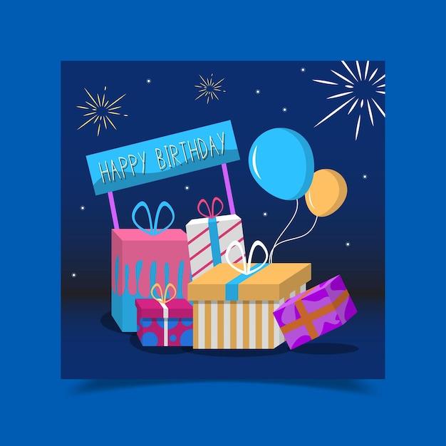 Urodzinowa Kartka Okolicznościowa Ozdobiona Pudełkami Na Prezenty Darmowych Wektorów