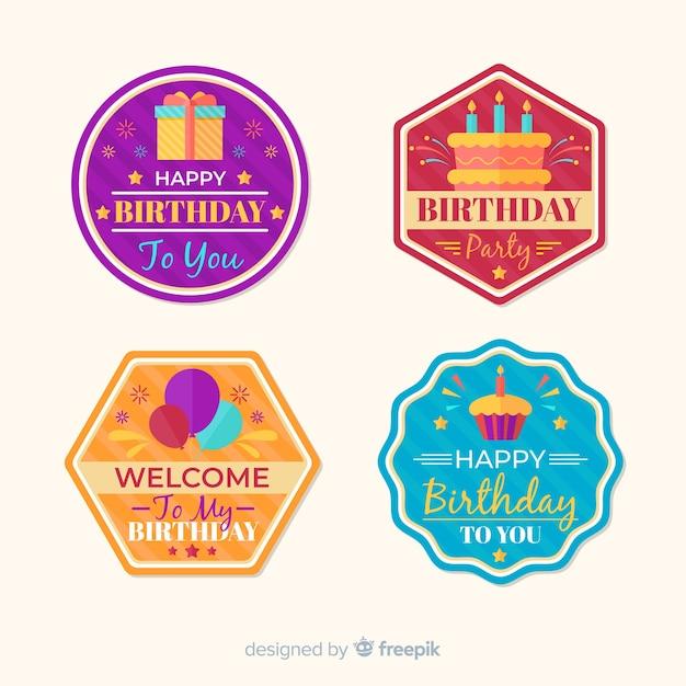 Urodzinowa kolekcja odznak Darmowych Wektorów