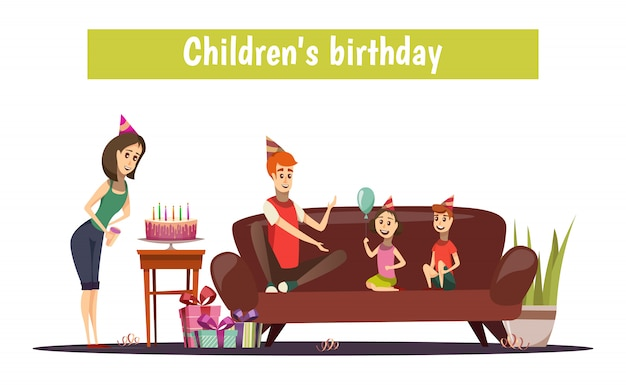 Urodzinowa kompozycja dla dzieci Darmowych Wektorów