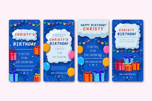 Urodzinowe Historie Z Mediów Społecznościowych Premium Wektorów