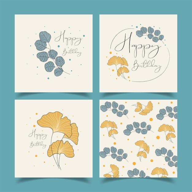 Urodzinowe Kartki Z życzeniami Pięknie Ozdobione Mnóstwem Kwiatów. Darmowych Wektorów
