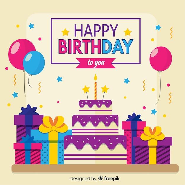 Urodzinowy tło z prezentami i tortem Darmowych Wektorów
