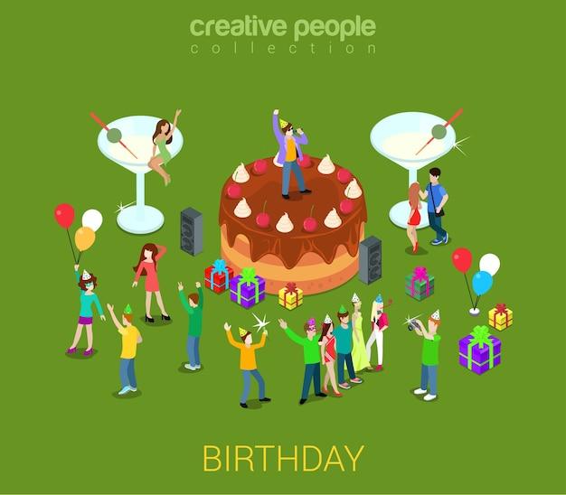 Urodzinowy Tort Z Kremem Czekoladowym Z Mikro Ludźmi Dookoła Darmowych Wektorów