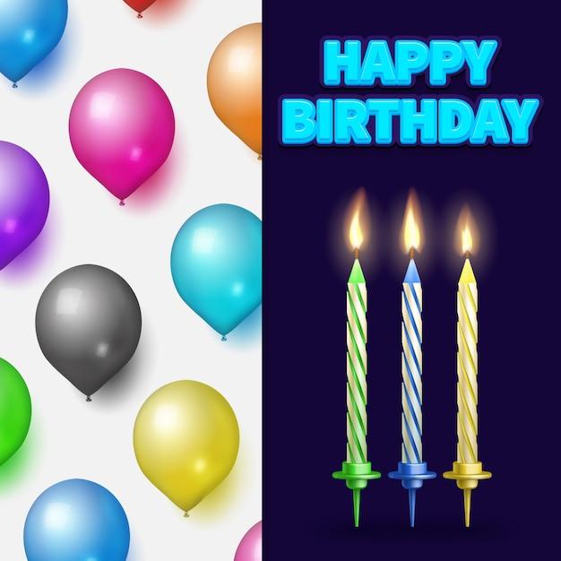 Urodziny Baneru Lub Karty Ze świecami Ciasto I Balony Premium Wektorów