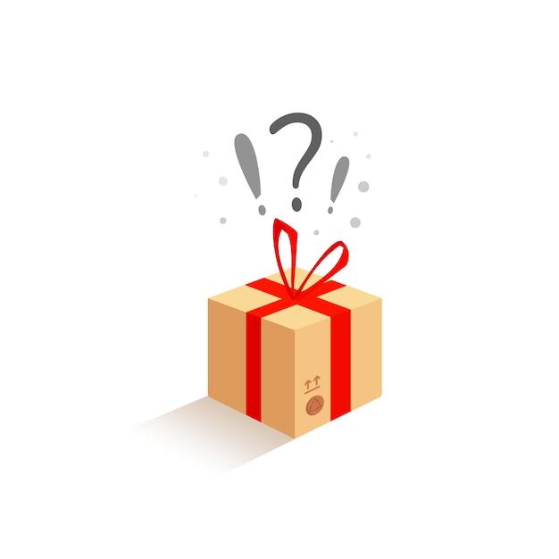 Urodziny celebracja beżowe pudełko z niespodzianką. czekam na radość Premium Wektorów