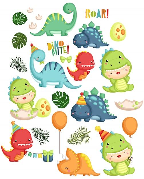 Urodziny Dinozaura Premium Wektorów