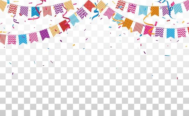Urodziny I Uroczystości Transparent Z Kolorowym Konfetti Premium Wektorów