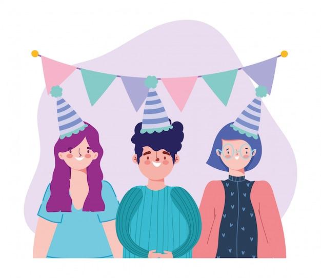 Urodziny Lub Spotkanie Z Przyjaciółmi, Młodym Mężczyzną I Kobietami Z Kapeluszową Filiżanką Wina I Proporczykami Dekoracji Uroczystości Ilustracji Premium Wektorów