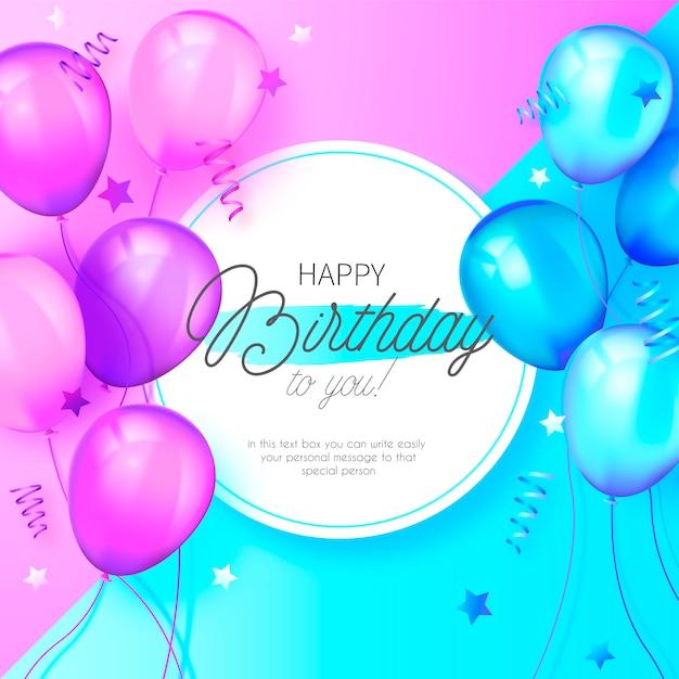 Urodziny nowoczesne tło z niebieskie i różowe balony Darmowych Wektorów