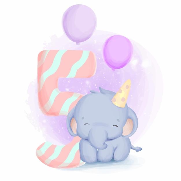 Urodziny Słonia Piąte Słodkie Zwierzęce Dziecko Dla Dzieci Premium Wektorów