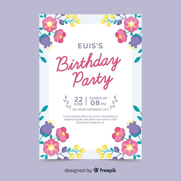 Urodziny Zaproszenie Koncepcja Z Kwiatami Darmowych Wektorów