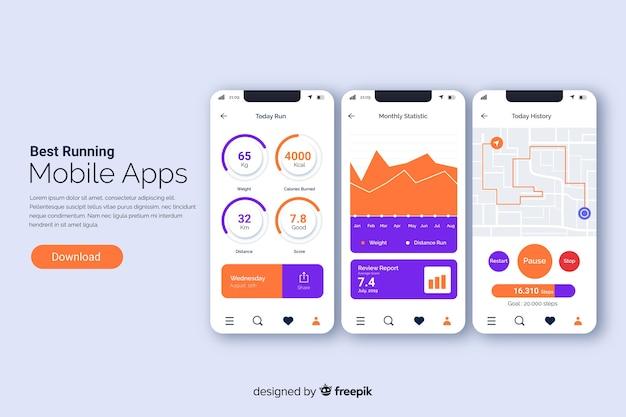 Uruchamianie aplikacji mobilnych infografika płaski Darmowych Wektorów