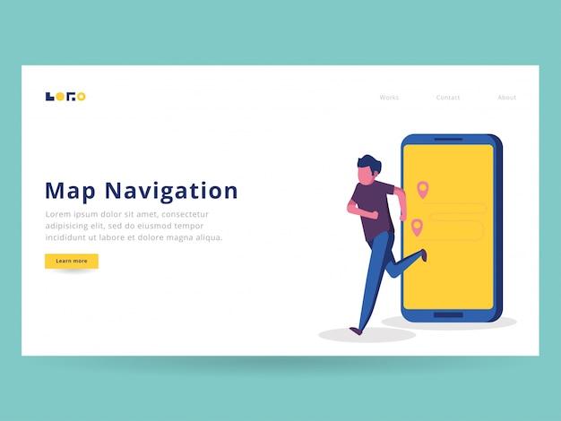 Uruchamianie ilustracji nawigacji dla strony docelowej Premium Wektorów