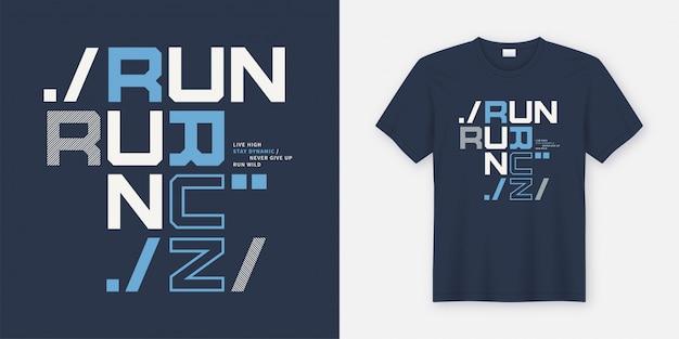 Uruchom dziki t-shirt i odzież nowoczesny plakat. Premium Wektorów