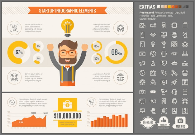 Uruchom szablon infografiki płaska konstrukcja i zestaw ikon Premium Wektorów