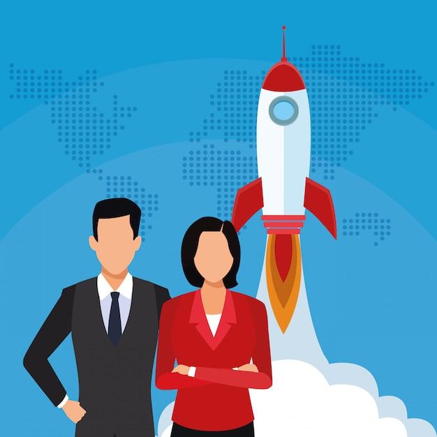 Uruchomienie Rakietowego Biznesmena Bizneswomanu Sukcesu Zaczyna Biznes Premium Wektorów