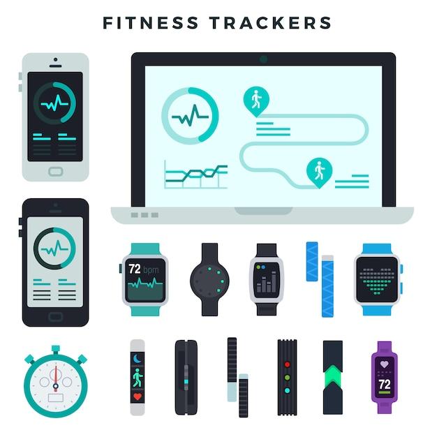 Urządzenia Do Monitorowania Aktywności Fizycznej Różnego Typu Premium Wektorów