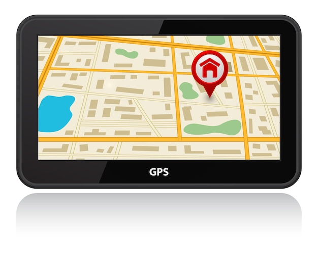 Urządzenie Gps Ze Wskaźnikiem Pin Mapy Premium Wektorów