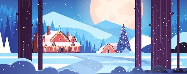 Urządzone Domy W Nocnym Lesie Wesołych świąt Szczęśliwego Nowego Roku Kartkę Z życzeniami świątecznymi Zima śnieżny Panoramiczny Krajobraz Poziomy Wektor Ilustracja Premium Wektorów
