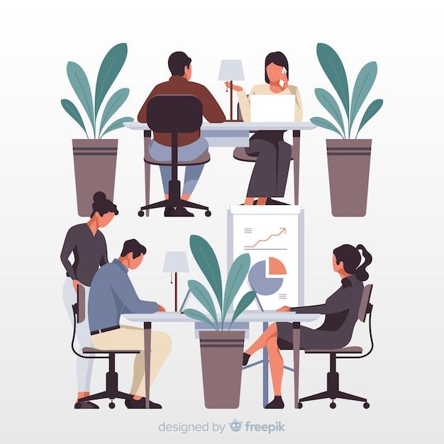 Urzędnicy siedzi przy biurkami ilustracyjnymi Darmowych Wektorów