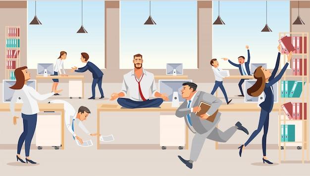 Urzędnik medytuje przy miejsce pracy wektorem Premium Wektorów