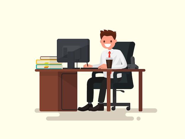 Urzędnika Mężczyzna Za Biurko Ilustracją Premium Wektorów