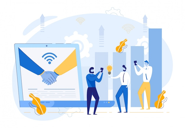 Uścisk Dłoni Na Monitorze Laptopa I Ludzi Biznesu Premium Wektorów
