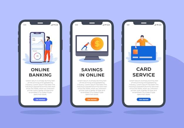 Usługa bankowości wbudowany ekran mobilny interfejs użytkownika Premium Wektorów