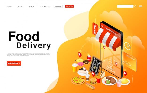 Usługa Dostarczania żywności Online. Premium Wektorów