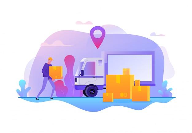 Usługa Dostawy Online. Szybki Transport Towarów Ilustracji Wektorowych. Oferty Pracy W Ruchu ładunków Premium Wektorów