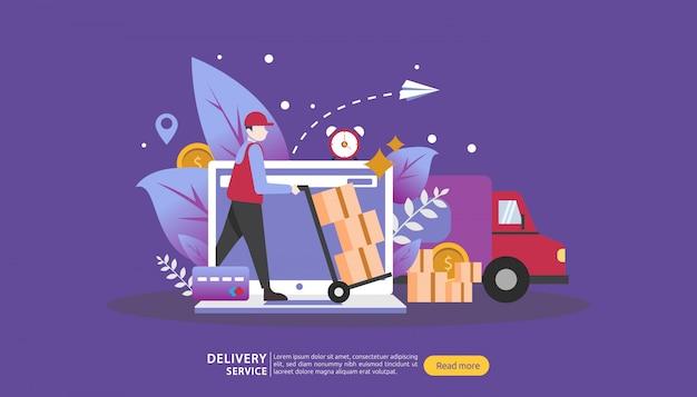 Usługa dostawy online. zamów ekspresową koncepcję śledzenia z malutkim charakterem i ciężarówką skrzyni ładunkowej. Premium Wektorów