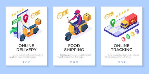 Usługa Dostawy Paczek Zamówień żywności Online Premium Wektorów
