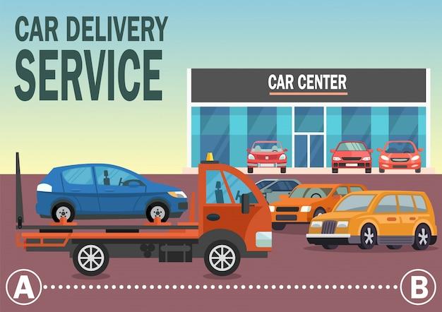 Usługa dostawy samochodów. wektorowa płaska ilustracja. Premium Wektorów