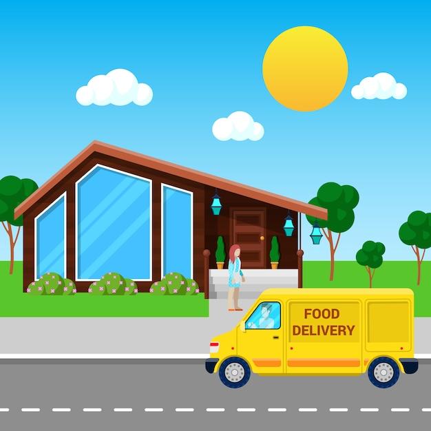Usługa Dostawy żywności Ciężarówka Przyniosła Zamówienie Do Klienta. Premium Wektorów