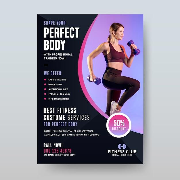Usługa Fitness Projektowania Plakatów Sportowych Darmowych Wektorów