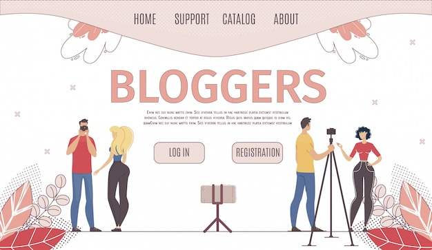 Usługa Hostingu Dla Płaskiej Strony Blogerów Premium Wektorów