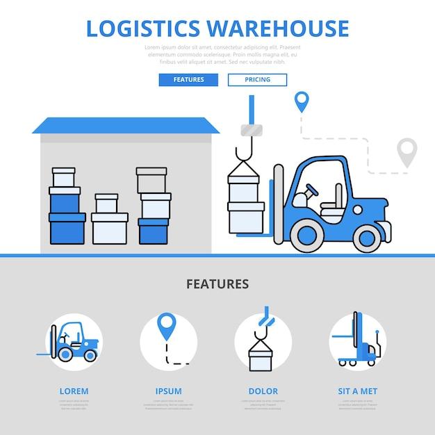 Usługa ładowania Magazynu Logistycznego Z Dostawą Do Magazynu Funkcja Koncepcja Stylu Płaskiej Linii. Darmowych Wektorów